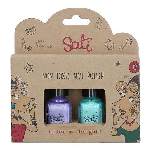 Non-Toxic Nail Polish - Pearl Purple & Pearl Green