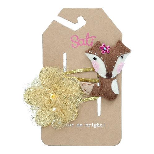 Fox & Gold Glitter Flower Hair Clip