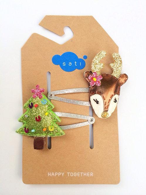 Bambi & The Christmas Tree Hair Clip