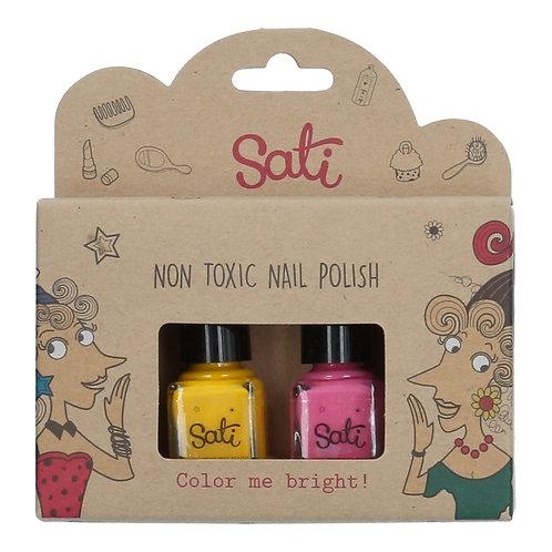Non-Toxic Nail Polish - Lemon & Hot Pink