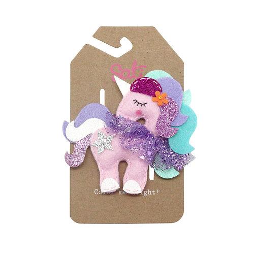 Neon Pink Unicorn Hair Clip