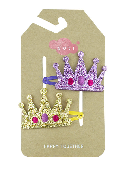Crown ( Violet & Gold ) Hair Clip
