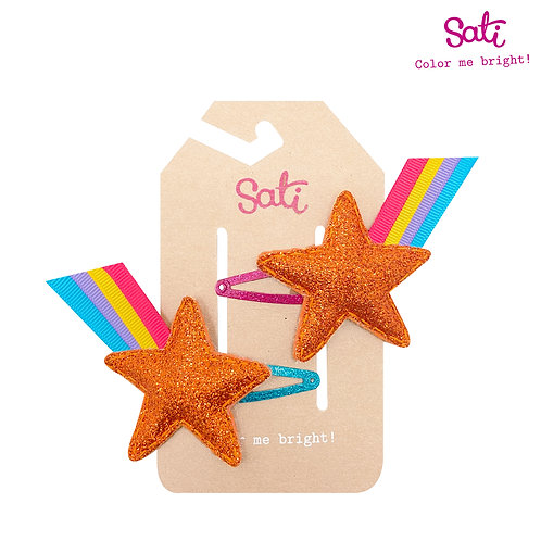 Orange Glitter Stars Hair Clip
