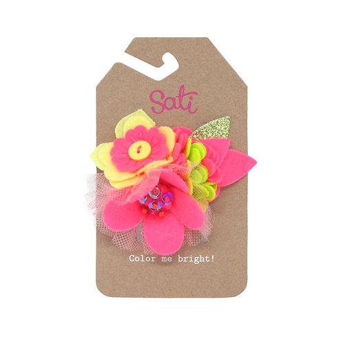 Neon Hot Pink Flower Hair Clip