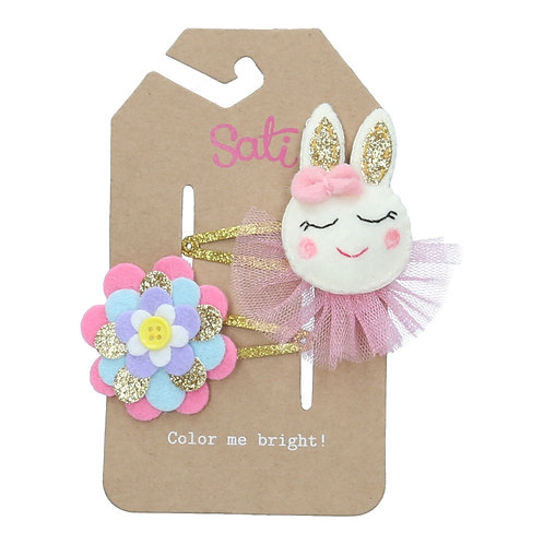 Rabbit & Flower Hair Clip