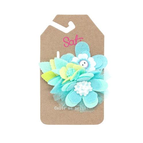 Neon Blue Flower Hair Clip