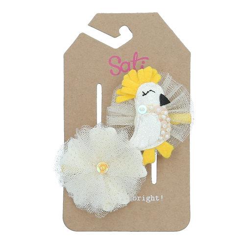 White Parrot & Flower Hair Clip