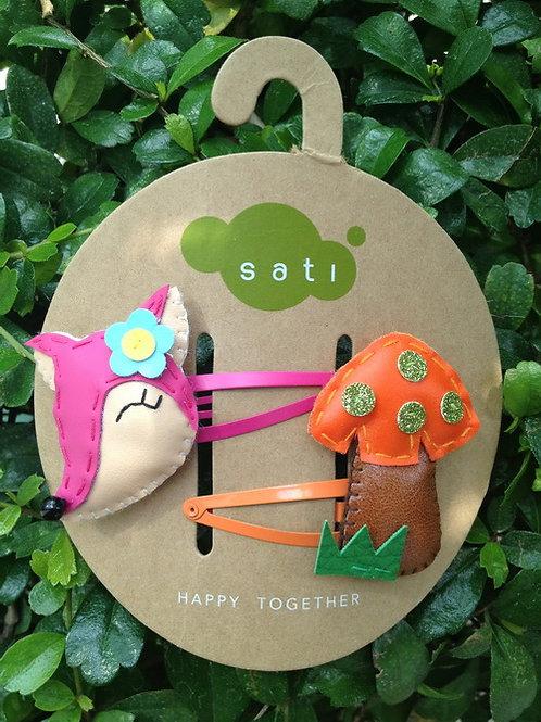Little Deer & Mushroom Hair Clip