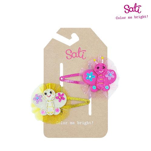 Pink & Yellow Little Butterfly Hair Clip