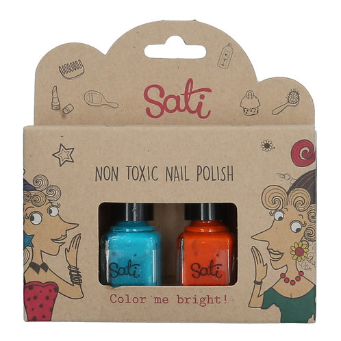 Non-Toxic Nail Polish - Turquoise & Orange