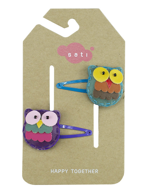 Happy Owl ( Violet & Blue ) Hair Clip