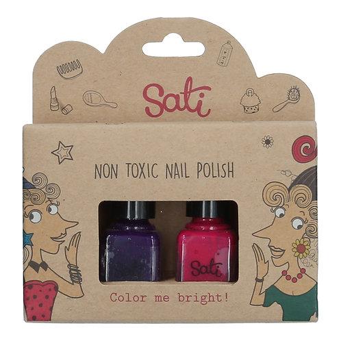 Non-Toxic Nail Polish - Purple & Shocking Pink