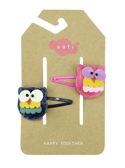Happy Owl ( Navy Blue & Pink ) Hair Clip