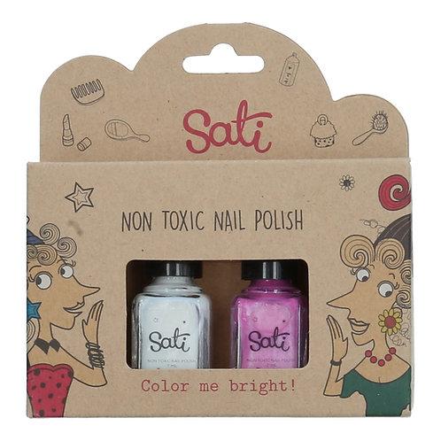 Non-Toxic Nail Polish - Pearl White & Pearl Pink