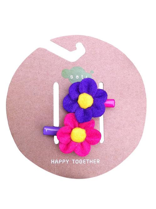 Poppy Flower ( Pink & Violet ) Hair Clip