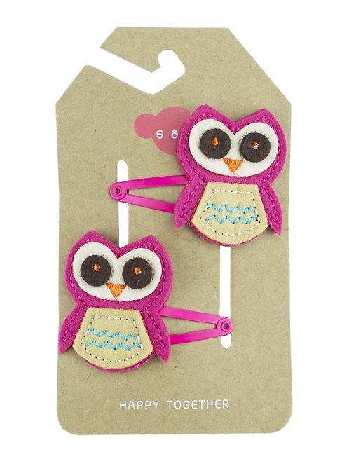 Owl ( Pink ) Hair Clip