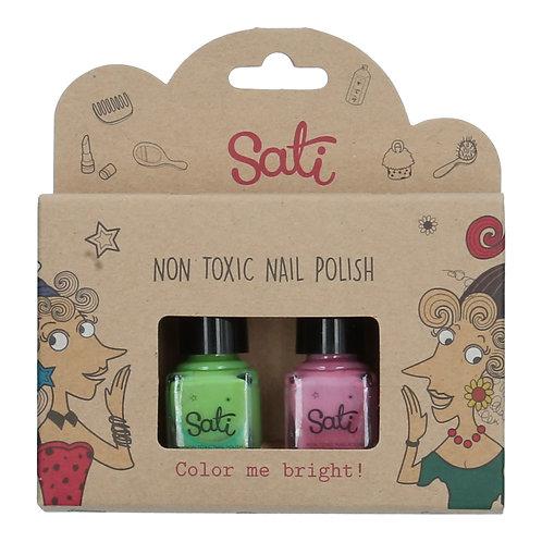 Non-Toxic Nail Polish - Apple Green & Rose Pink