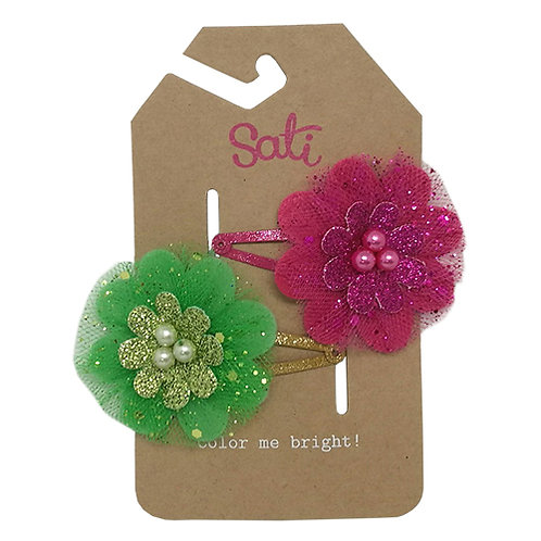 Celebrate Flower (Pink/Green) Hair Clip