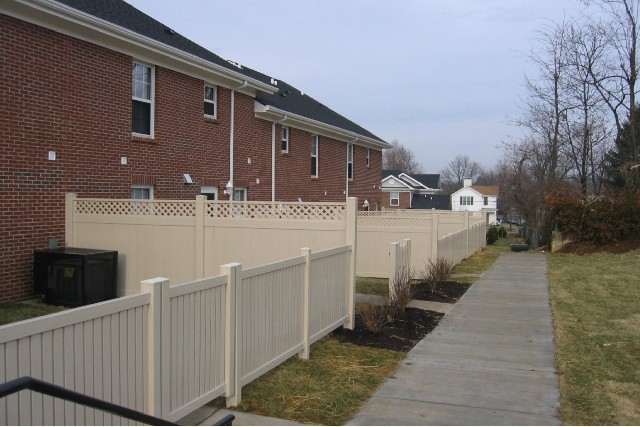 Tan Vinyl Privacy and Picket Fence