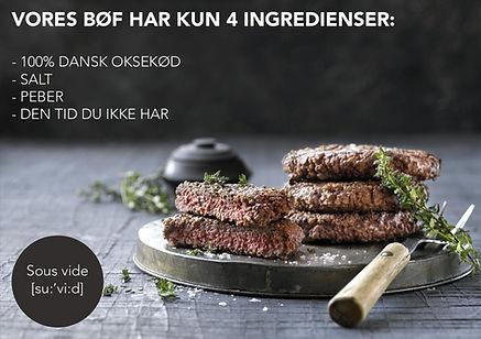 Sous Vide Hakkebøf af 100% dansk oksekød fra Himmerland.