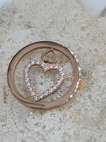 Double Heart with CZ, Rose Gold , Yellow Gold and Silver
