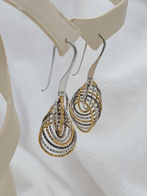 Earring, Sterling Silver and 14K Gold