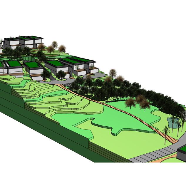 Modelo volumétrico de ocupação de terreno em fase preliminar