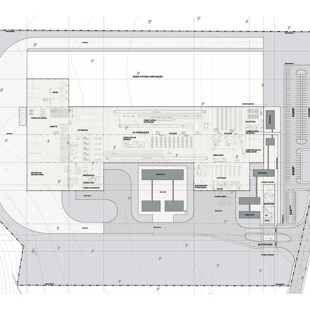 Implantação geral projeto industrial