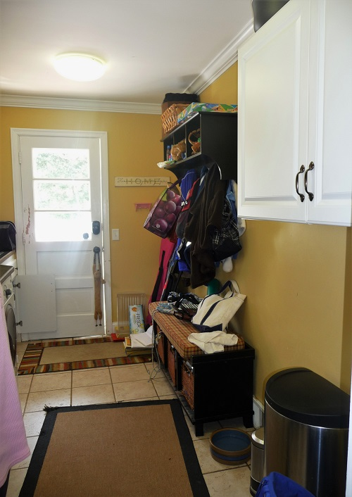 disorganized mudroom