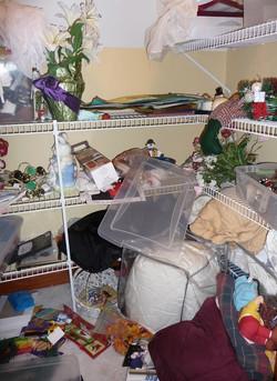Storage closet before organizing