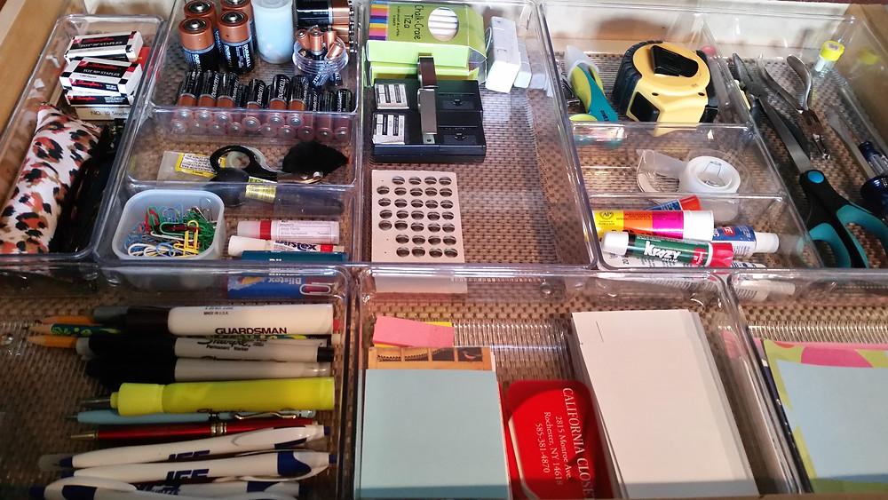 Organized kitchen junk drawer