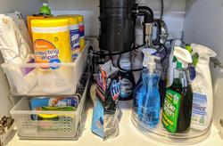 Organized under sink cabinet after