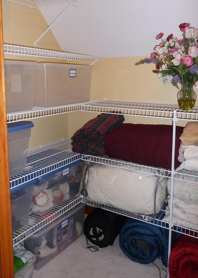 Storage closet after organizing