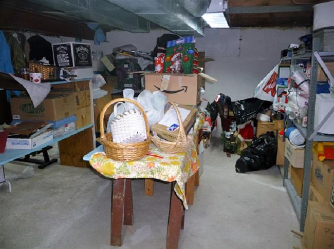 cluttered basement