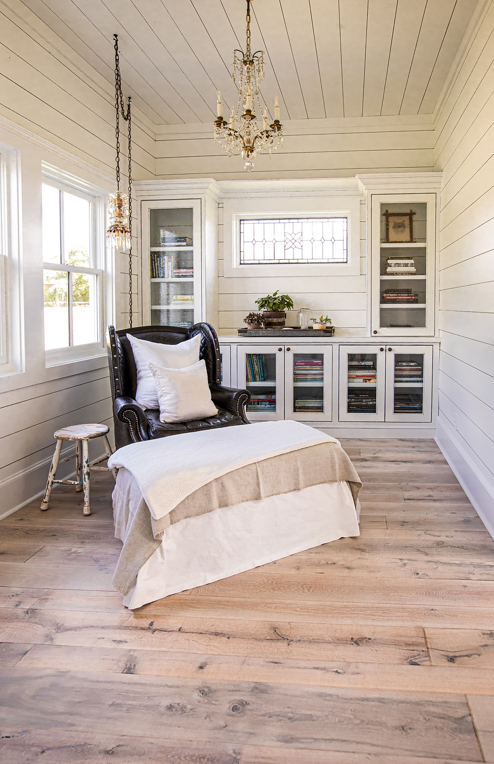 Salvaged Wide Plank Texas Post Oak hardwood floors in quaint sitting room Texas modern farmhouse