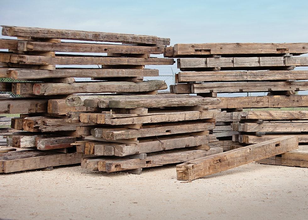 timbers and wood beams in lumber yard