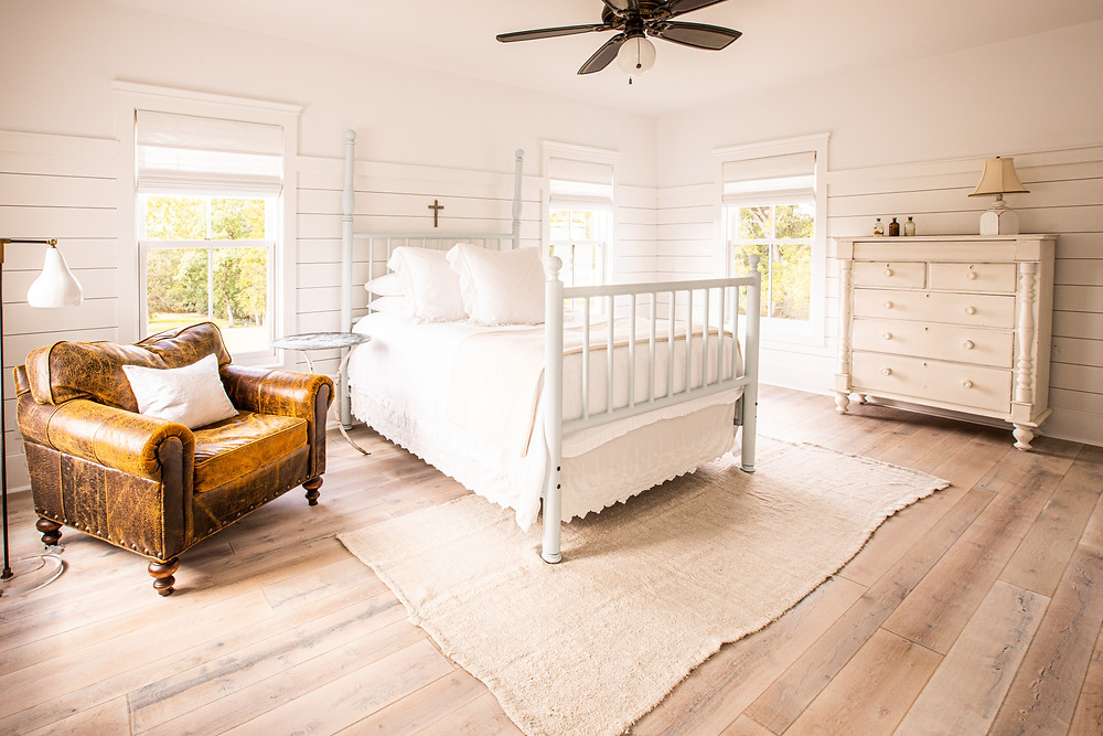 Shiplap Texas Post Oak Wide Plank flooring salvaged in Texas by Hardwood Design Company in College Station Modern Texas farmhouse in Roundtop