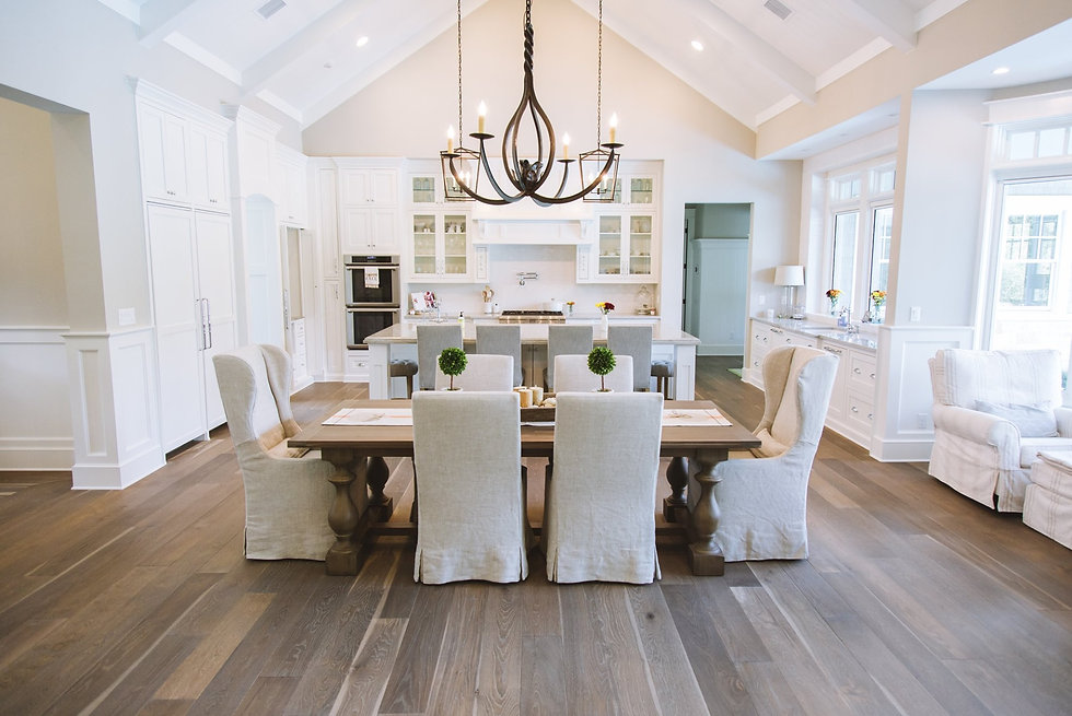 modern kitchen and dining space with wood flooring