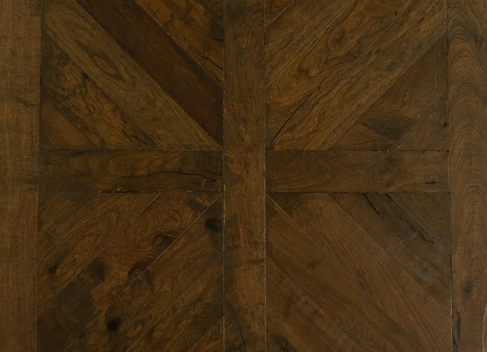 geometric hardwood flooring pattern