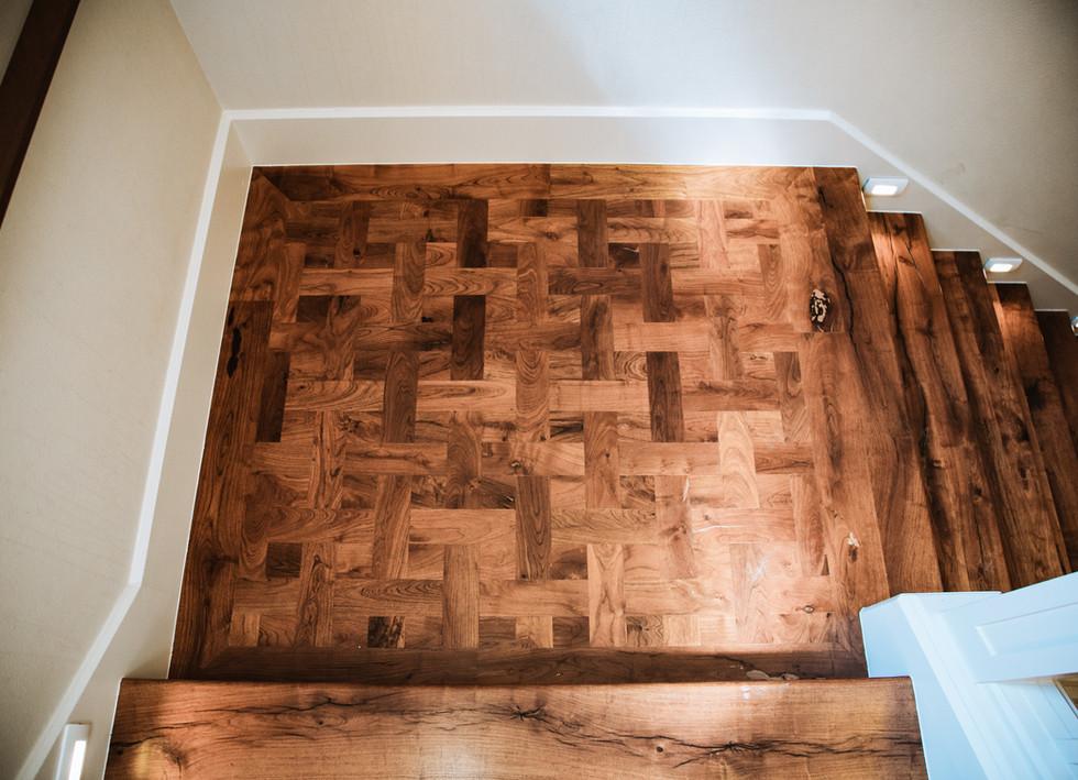 Texas Mesquite Hardwood Flooring Stair Landing Basket Weave Pattern