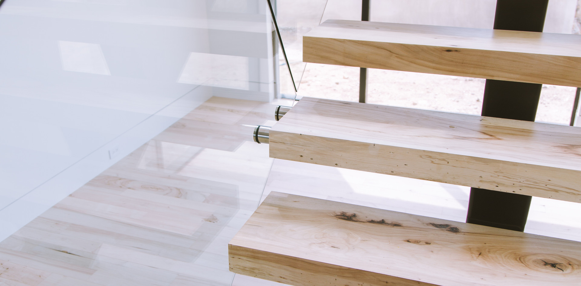 Bleached Southern Pecan Hardwood Stairs