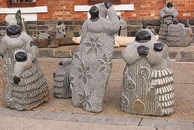 Beautiful Zimbabwean stone sculptures of womenand girls.