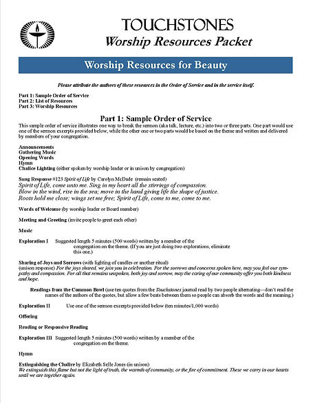 Worship Resources Packet, page one.