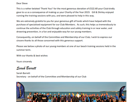 Thank you from TORBAY and DISTRICT LIFESAVING and LIFEGUARD CLUB