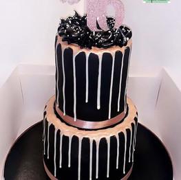 Black + Rose Gold Drip Cake