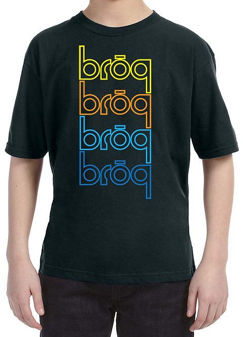 BRŌQx4 Youth Black Tshirt- pick your logo color