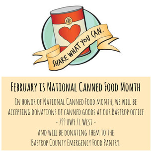 Canned Food Drive for February in Bastrop