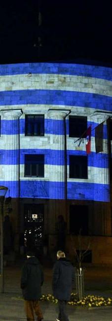 Republika Srpska turns blue and white