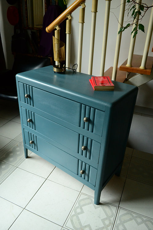 VENDU/Commode vintage bleu paon 3 tiroirs