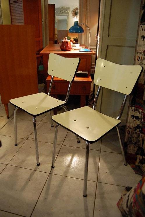 VENDU/2 chaises vintage formica jaune forme libre